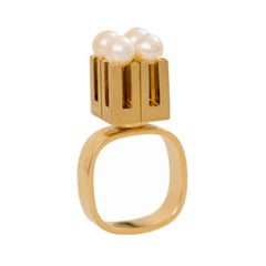 Knud Anderson for Anton Michelsen Modernist Cocktail Pearl Gold Ring