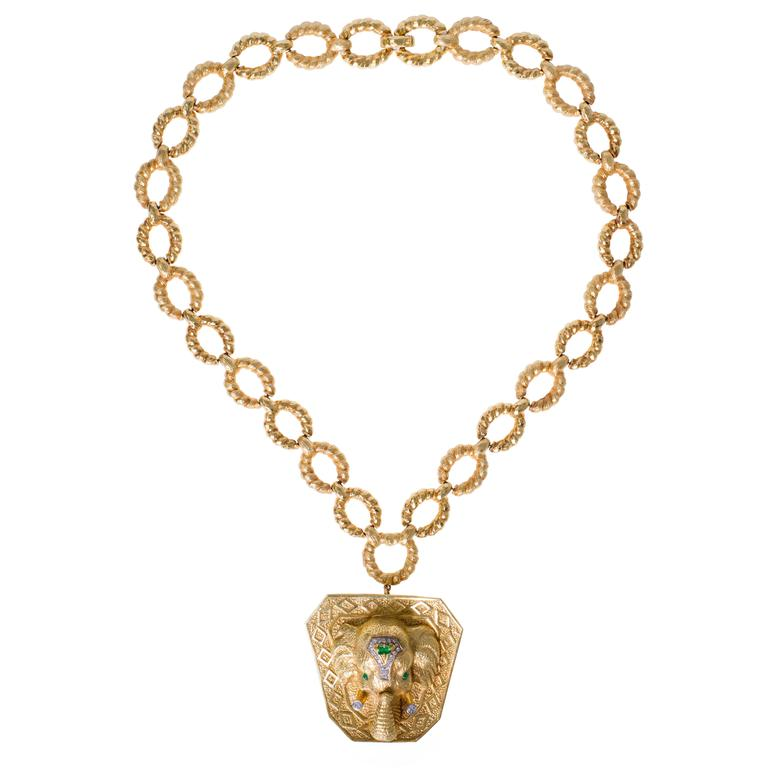 This Striking And Substantial Pendant Necklace Centered On A Realistically Designed  Elephant Head By New York