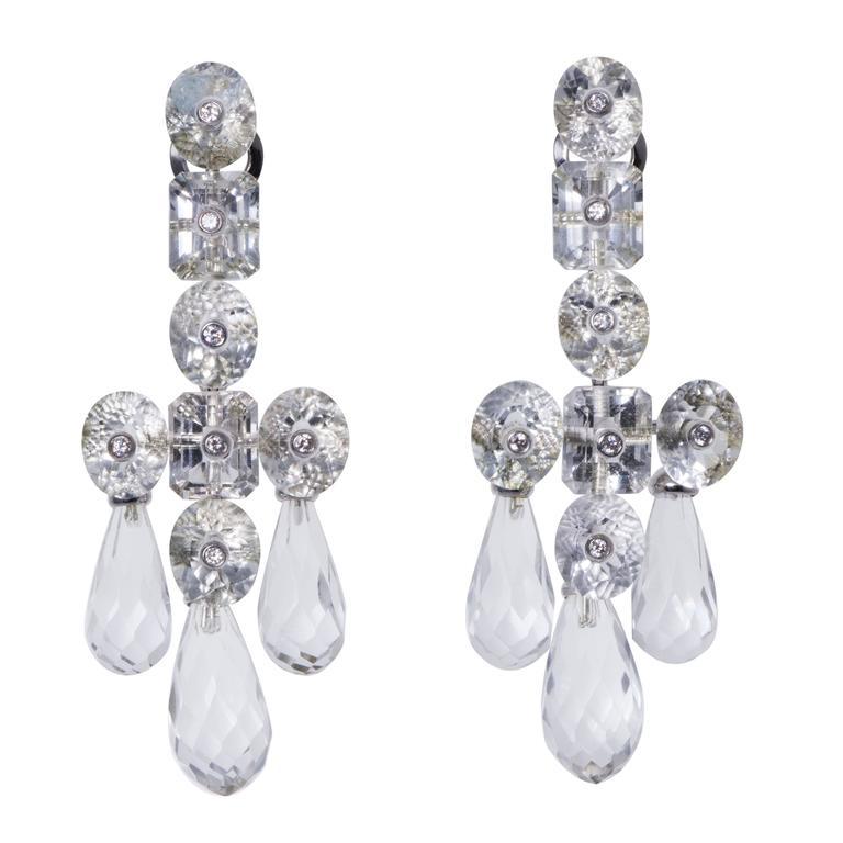 Prince Dimitri Rock Crystal Diamond Gold Dangle Earrings 1