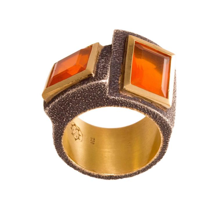 Marilyn Cooperman Fire Opal Blackened Silver Gold Ring 2