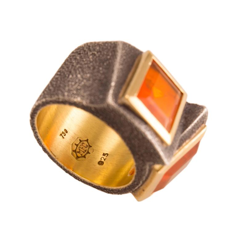 Marilyn Cooperman Fire Opal Blackened Silver Gold Ring 3