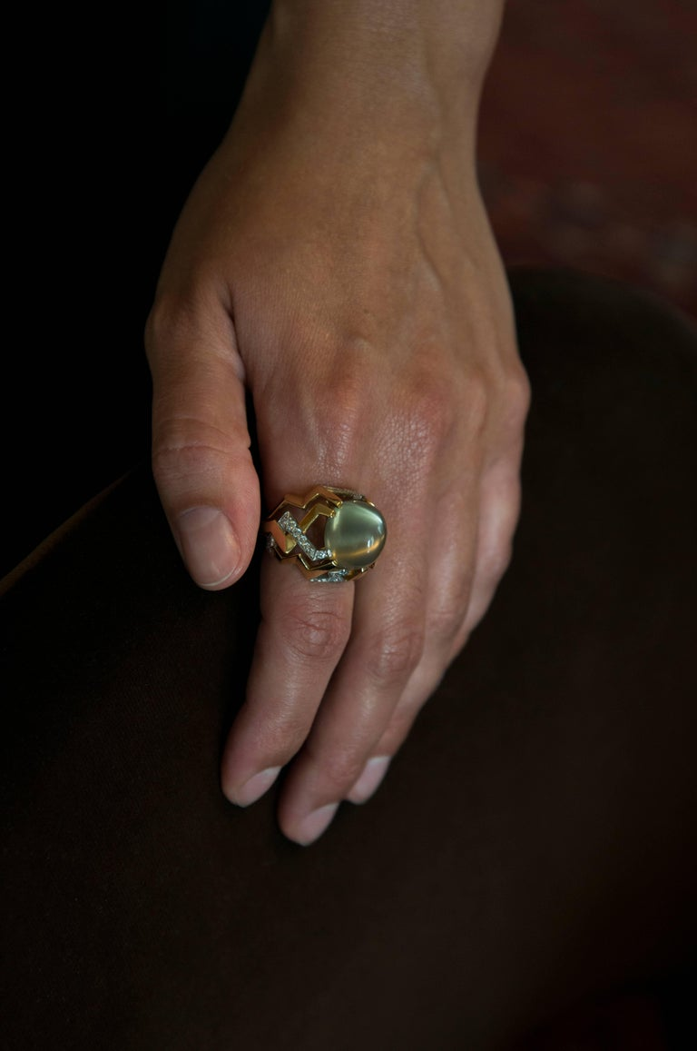 Tiffany & Co. Paloma Picasso Moonstone Diamond Gold Platinum Ring 3