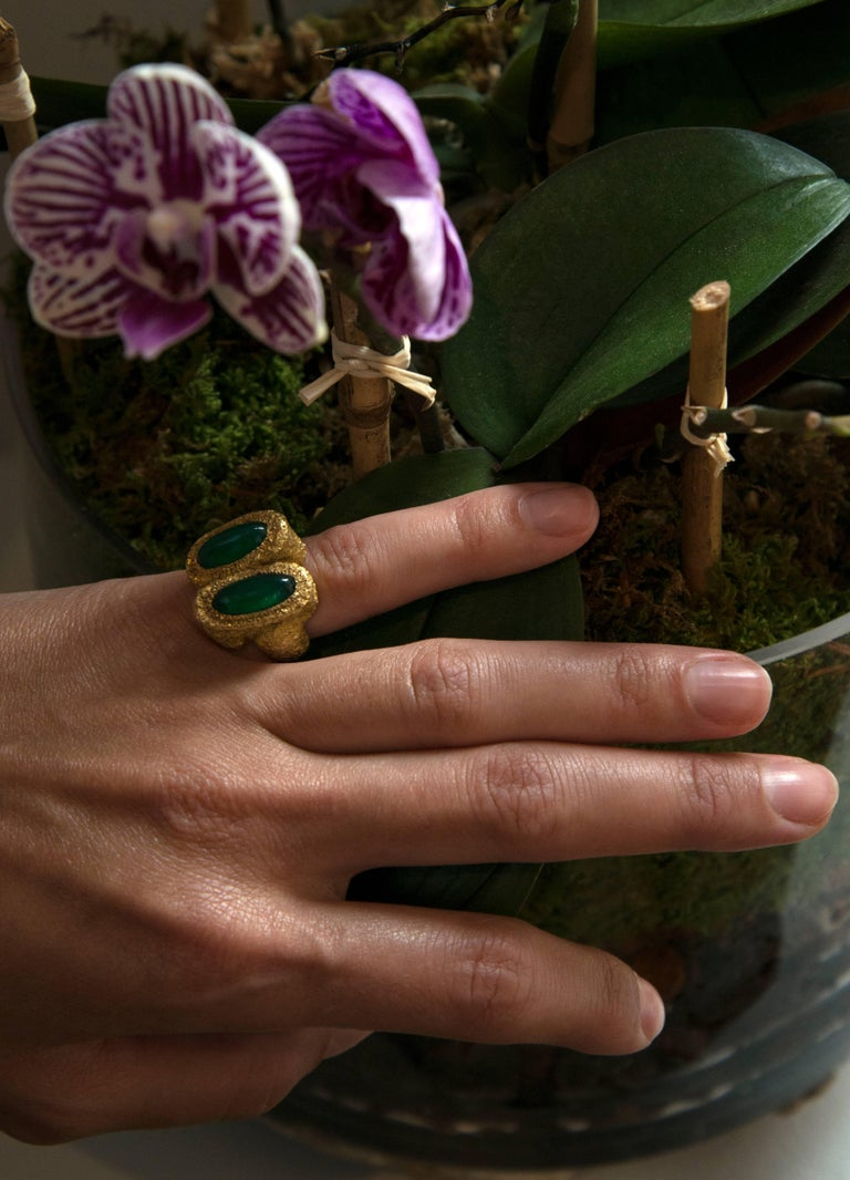 1970s Chaumet Chrysoprase and Gold Ring 2