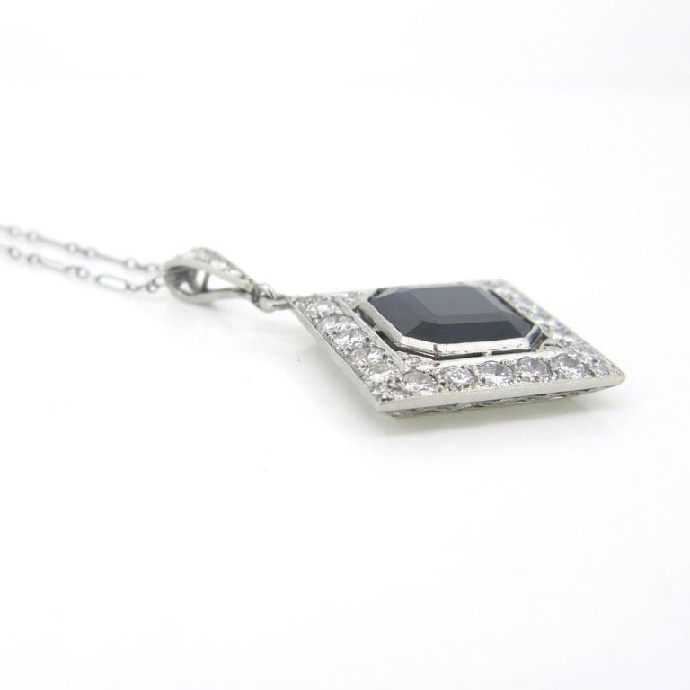 Women's or Men's Sapphire and Diamonds Art Deco French Pendant Necklace For Sale