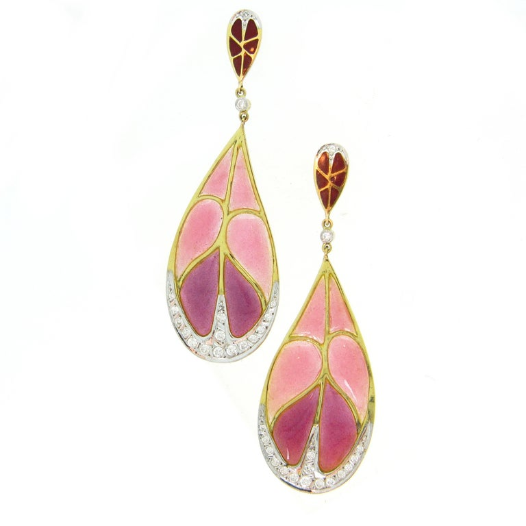 Art Nouveau Style Enamel Leaf Plique a Jour Diamond 18kt Gold Dangle Earrings