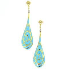Enamel Turquoise Diamond 18 Karat Gold Dangle Earrings