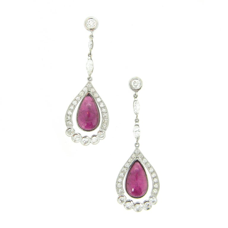 Tourmaline Cabochon Diamonds White Gold Dangle Drop Earrings For Sale