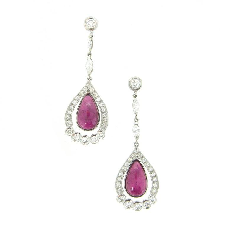 Tourmaline Cabochon Diamonds White Gold Dangle Drop Earrings