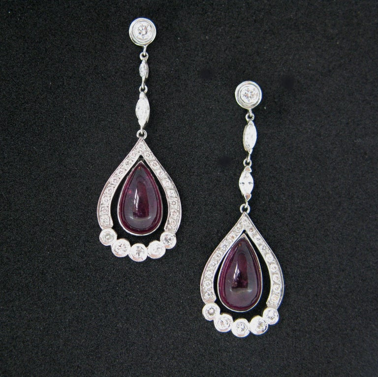 Contemporary Tourmaline Cabochon Diamonds White Gold Dangle Drop Earrings For Sale
