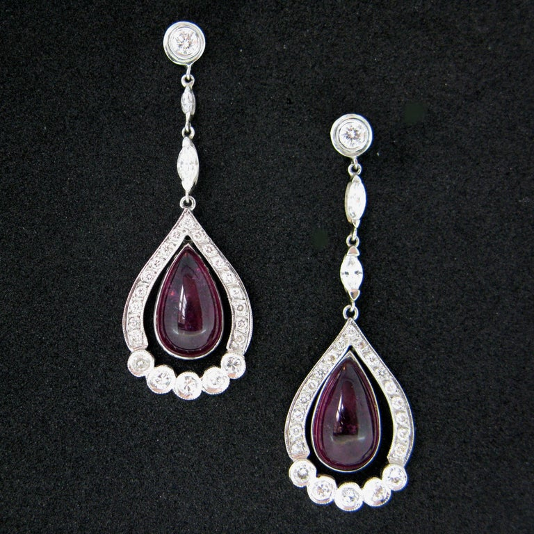 Pear Cut Tourmaline Cabochon Diamonds White Gold Dangle Drop Earrings For Sale
