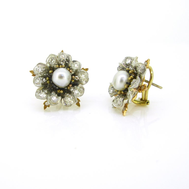 Women's or Men's Antique Victorian GCS Report Natural Pearls and Old Cut Diamonds Flower Earrings For Sale