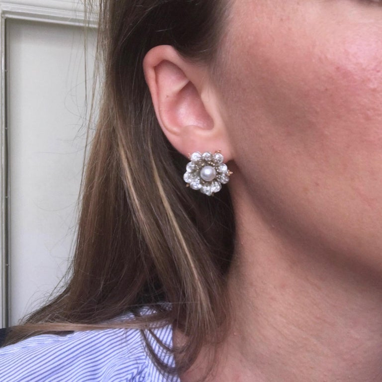 Antique Victorian GCS Report Natural Pearls and Old Cut Diamonds Flower Earrings For Sale 1