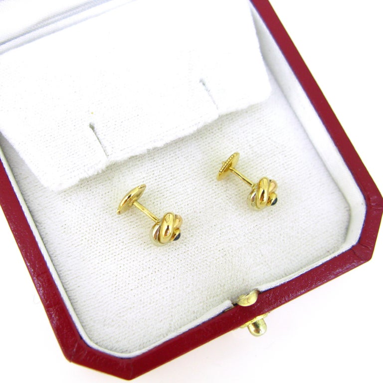 Women's or Men's Cartier Trinity Three Gold Cabochon Sapphire Studs Earrings For Sale