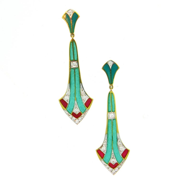 Art Nouveau Style Plique à Jour Enamel Diamonds Dangle Earrings