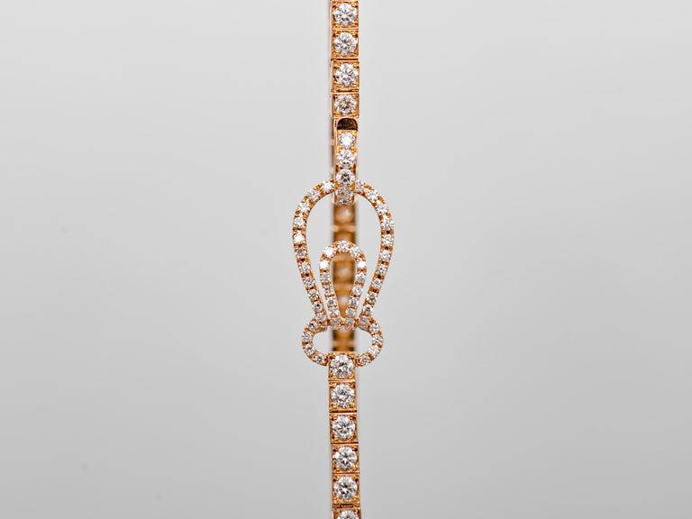 Round Cut Straight Line Rose Gold Diamond Tennis Bracelet For Sale