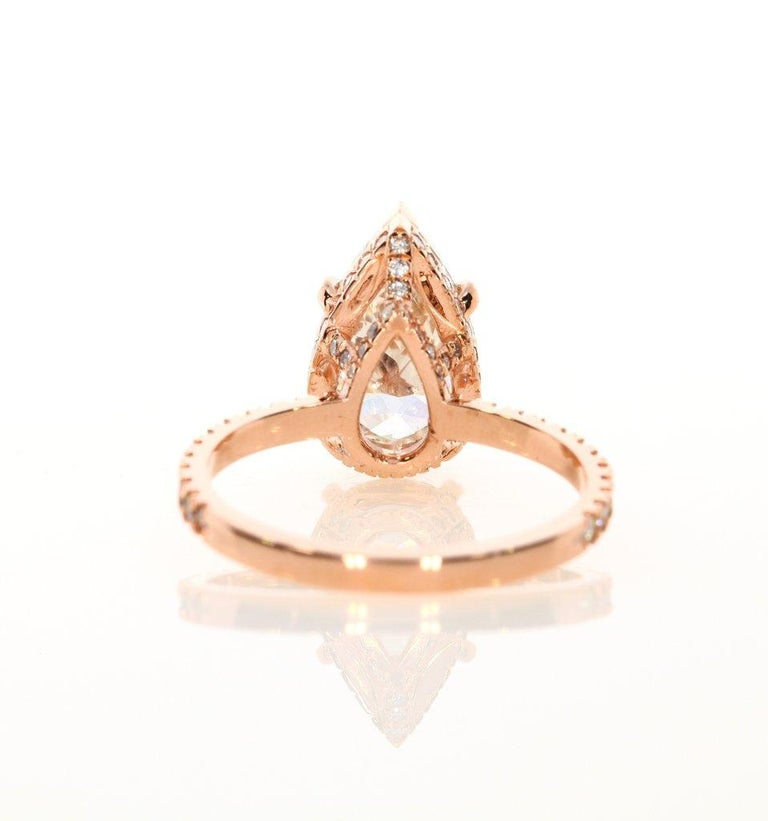 3 65 Karat Birnenformiger Diamant Verlobungsring 14 Karat Rotgold Im