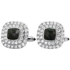 Yael Designs 3.15 carat Black Diamond White Diamond Cufflinks in Gold