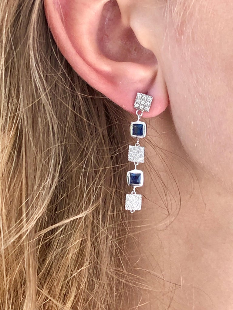 Contemporary Square Shape Sapphire and Diamond Drop Earrings  For Sale