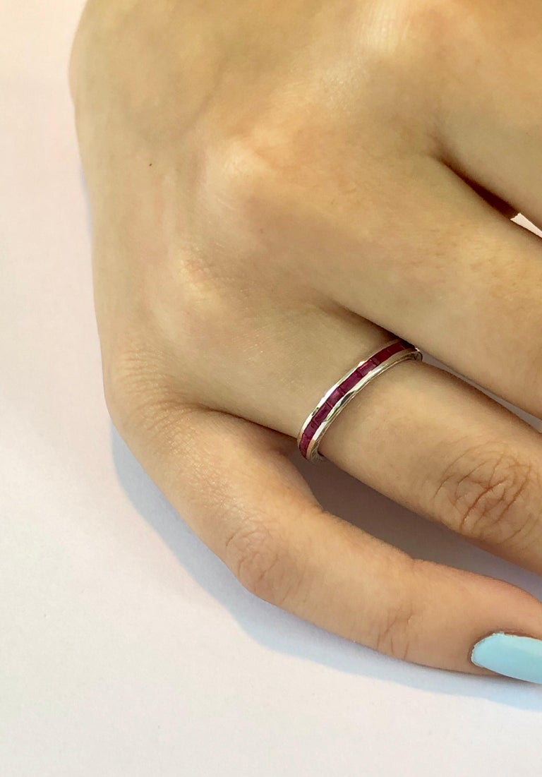 Women's Baguette Ruby Eternity Gold Engraved Band Weighing 1.65 Carat For Sale