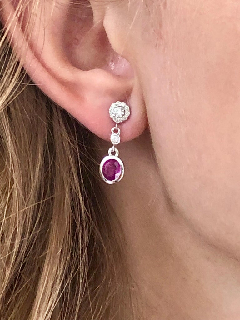Round Cut Pink Sapphire and Diamond Gold Drop Earrings For Sale