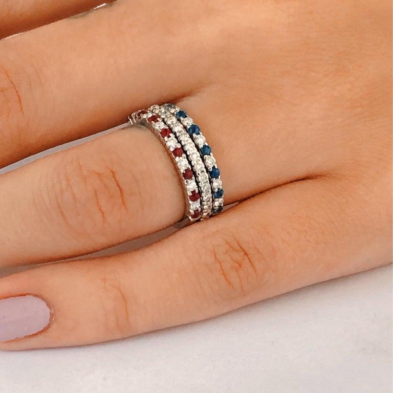 Women's Diamond Alternating Sapphire Partial 13 Stone Eighteen Karat Gold Ring  For Sale