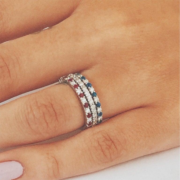 Diamond Alternating Sapphire Partial 13 Stone Eighteen Karat Gold Ring  For Sale 2
