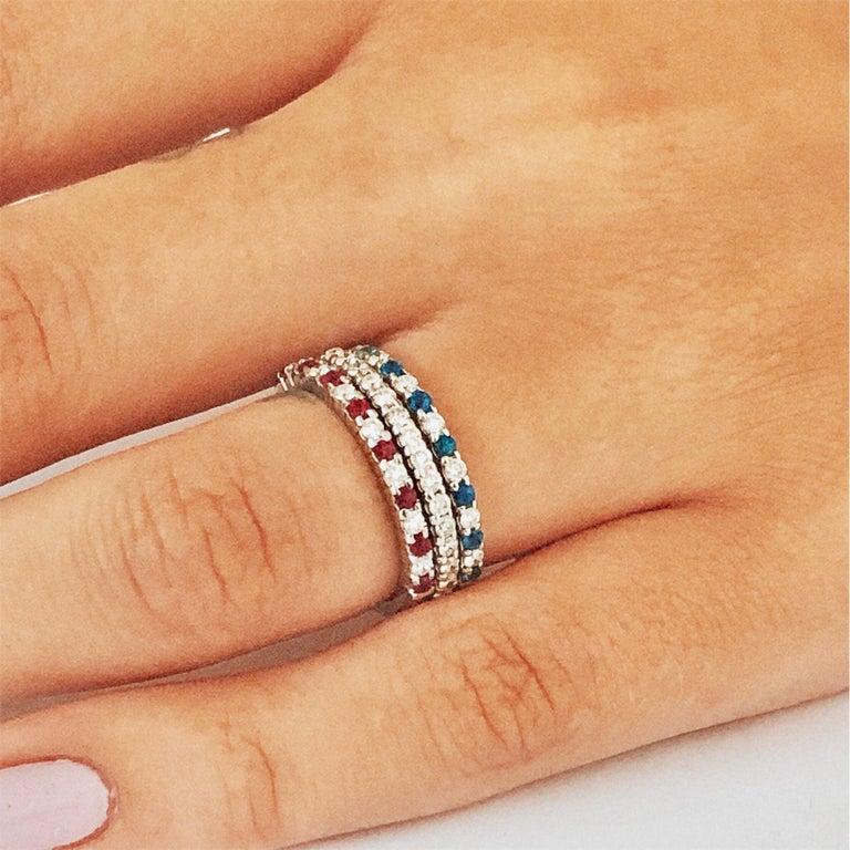 Diamond Alternating Sapphire Partial 13 Stone Eighteen Karat Gold Ring  For Sale 3