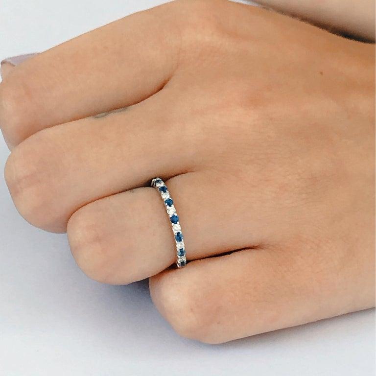 Diamond Alternating Sapphire Partial 13 Stone Eighteen Karat Gold Ring  For Sale 1