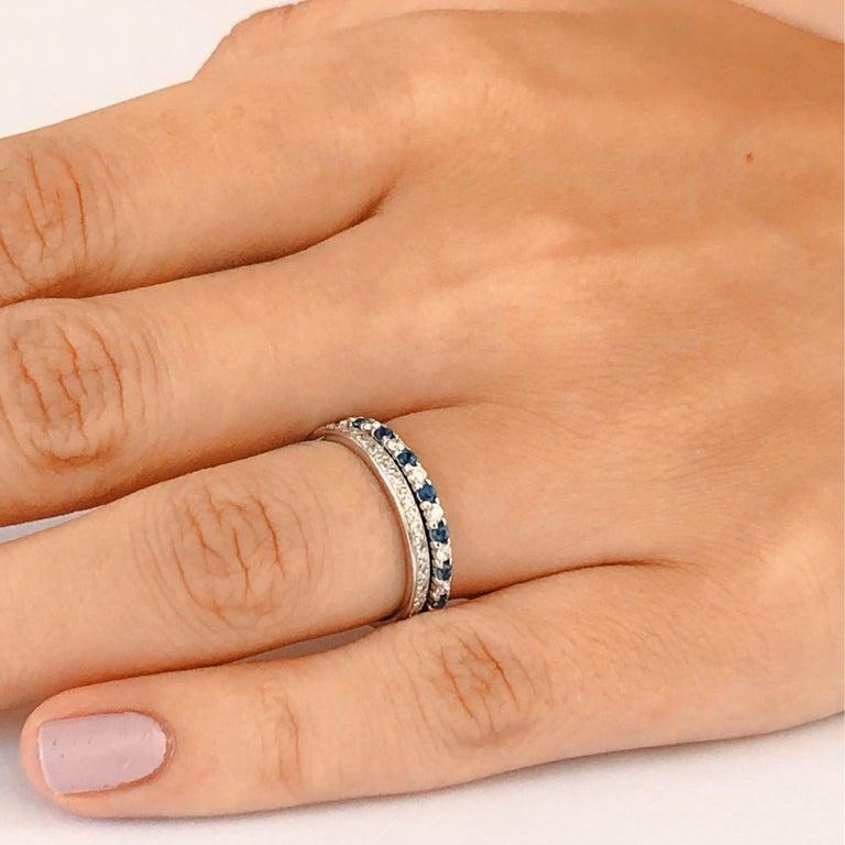 Contemporary Diamond Alternating Sapphire Partial 13 Stone Eighteen Karat Gold Ring  For Sale