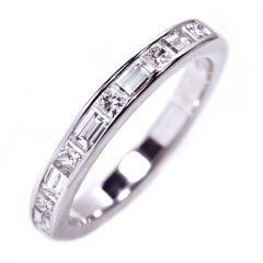 18k White Gold Baguette and Princess Cut Diamond Partial Ring