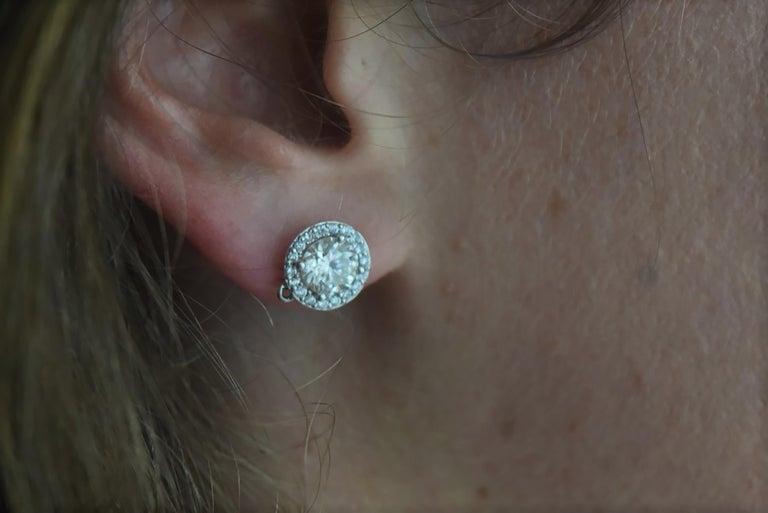 Round Cut Diamond Halo 18 Karat White Gold Earrings Custom Order Your Old Diamond Studs For Sale