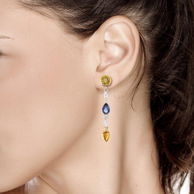 Pear Cut Yellow Blue Sapphires Drop Diamond Earrings For Sale