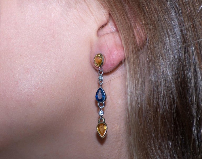 Contemporary Yellow Blue Sapphires Drop Diamond Earrings For Sale