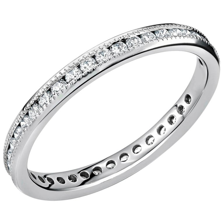 Platinum Diamond Eternity Band Fine Milgrain Edge For Sale 2