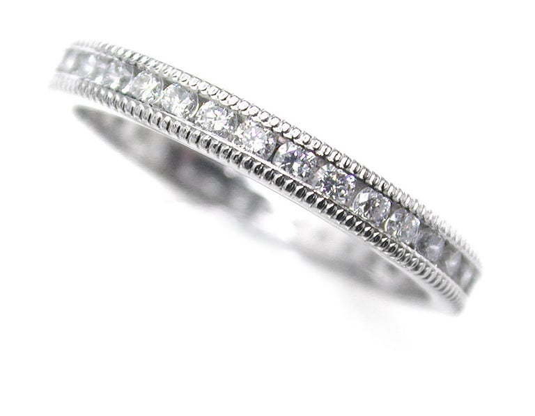 Platinum Diamond Eternity Band Fine Milgrain Edge For Sale 1
