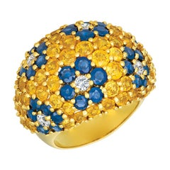 Jean Vitau Yellow Sapphire, Blue Sapphire and Diamond Ring