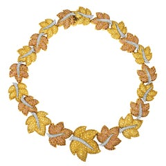 Jean Vitau Cognac and Yellow Sapphire Leaf Garland Necklace
