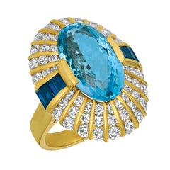 Jean Vitau Gem Oval Aquamarine, Diamond and Baguette Sapphire Ring