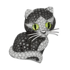 Jean Vitau Black Diamond and White Diamond Cat Brooch