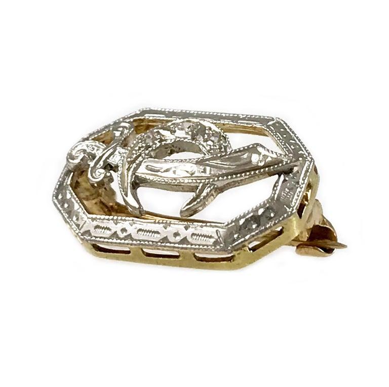 Vintage Two-Tone Gold Three Diamond Masonic Sword and Crescent Moon Lapel Pin