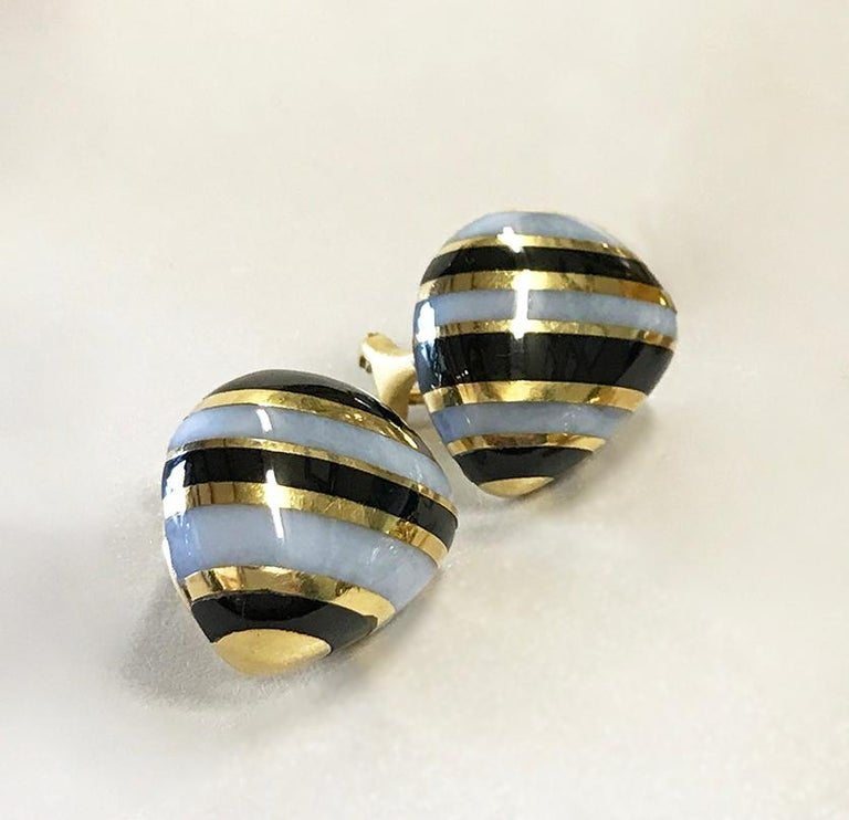 Retro Tiffany & Co. Vintage Onyx, White Agate and Gold Striped Earrings For Sale