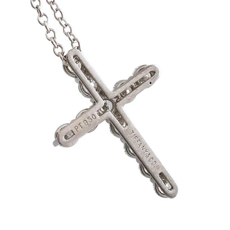 Contemporary Tiffany & Co. Platinum Diamond Cross Pendant Necklace For Sale