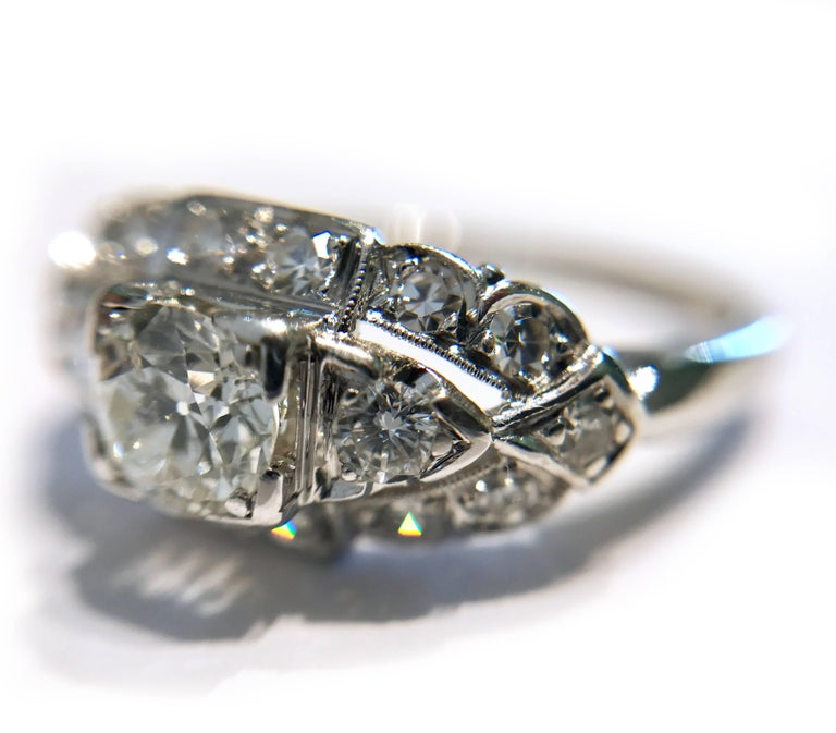 Art Deco White Gold Diamond Ring, 0.78 Carat In Good Condition For Sale In Palm Desert, CA