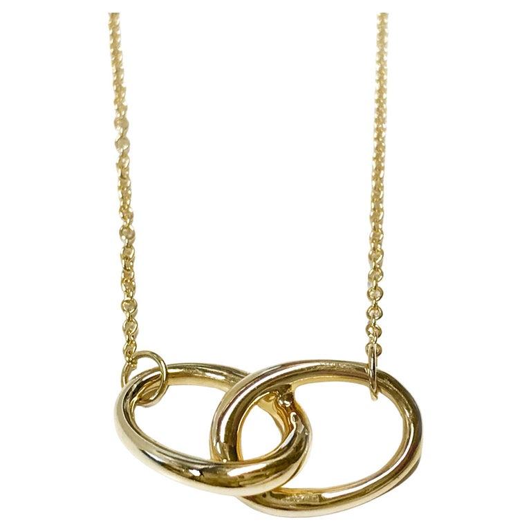 Tiffany & Co. Elsa Peretti 18K Vintage Gold Interlocking Ovals Pendant Necklace For Sale