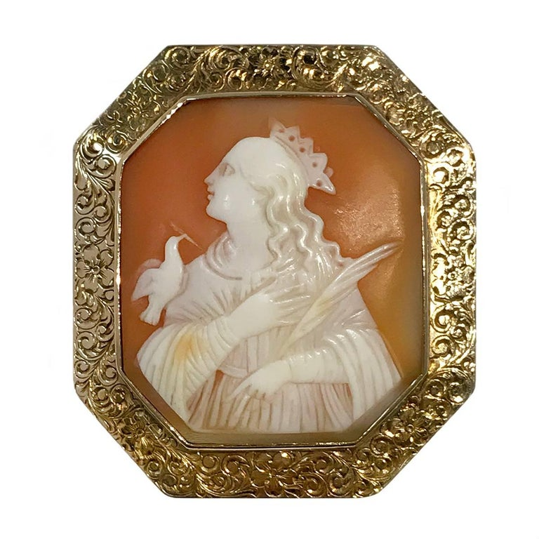Antique Gold Carved Shell Octagon Bezel Cameo Brooch Pendant