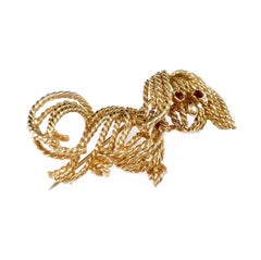 Vintage Gold Twisted Wire Dog Brooch
