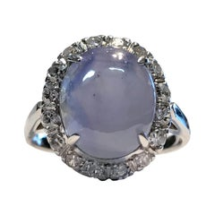 Vintage Gold Star Sapphire with Diamond Halo, 0.32 Carat