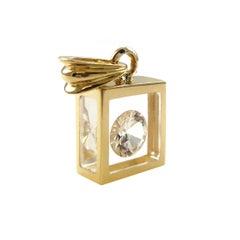 Incogem Floating 1 Carat Solitaire Diamond Pendant: 14k Gold