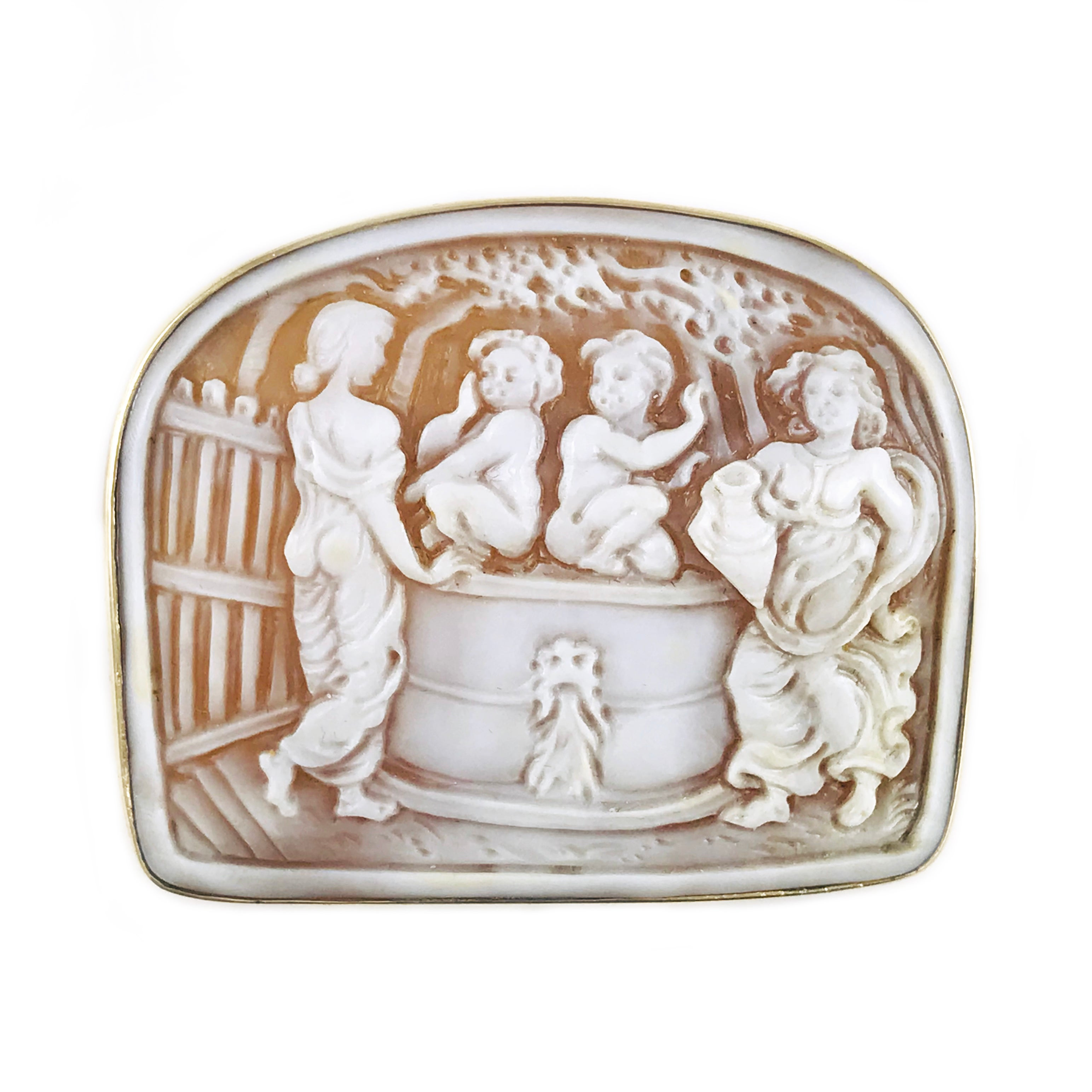 14 Karat Gold Shell Cameo Brooch Pendant, Fetching Water