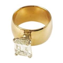 2.32 Carat, 14 Karat Gold Emerald Cut Diamond Ring